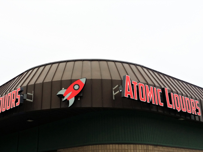 Atomic Liquors - LED light Channel Letters sign - Impression Signs and Graphics