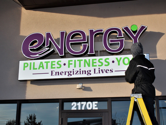 Energy Pilates- LED light Channel Letters sign - Impression Signs and Graphics