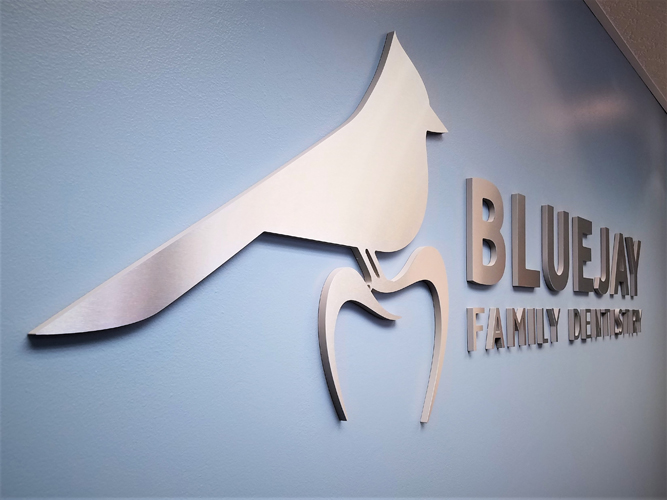 Blue Jay - Brushed Aluminum Dimensional Letters sign - Impression Signs and Graphics