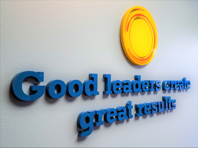 Office wall signage - Good Leadership - Impression Signs and Graphics - Oakdale, MN
