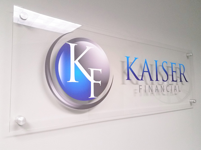 Lobby office sign- Kaiser Financial - Impression Signs and Graphics - Oakdale, MN