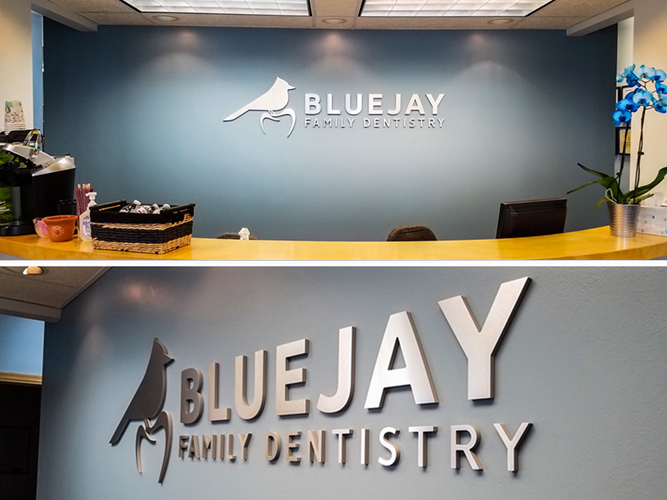 BlueJay Dentistry - Lobby Dimensional letters sign - Impression Signs and Graphics - Oakdale, MN