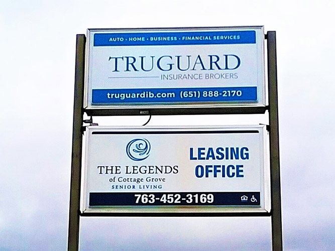 Pylon Signs - Truguard The legends double sign - Impression Signs and Graphics - Oakdale, MN