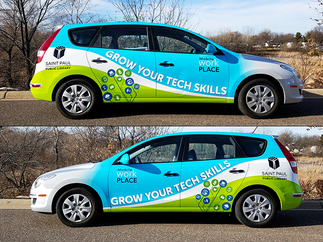 Vehicle Graphic - Saint Paul Public Library Wrap - Impression Signs and Graphics