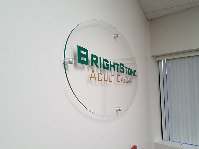 Brightstone Adult daycare - Vinyl lettering on acrylic - Impression Signs and Graphics - Oakdale, MN