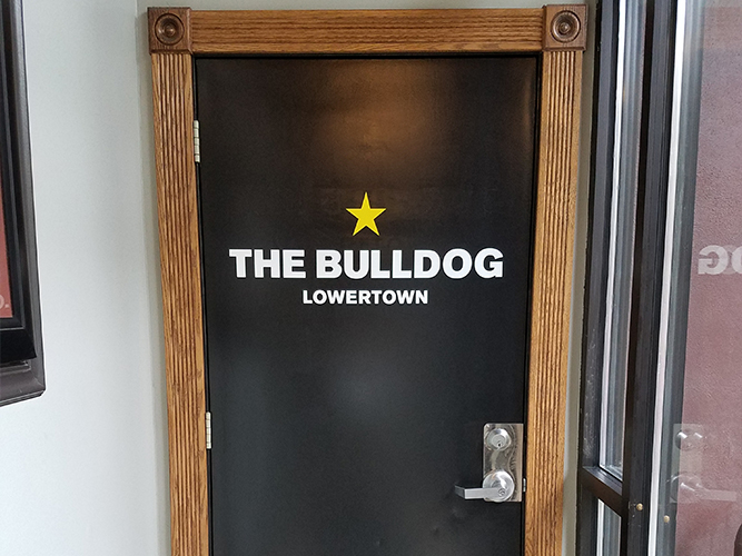 The Bulldog- Vinyl lettering on door - Impression Signs and Graphics - Oakdale, MN