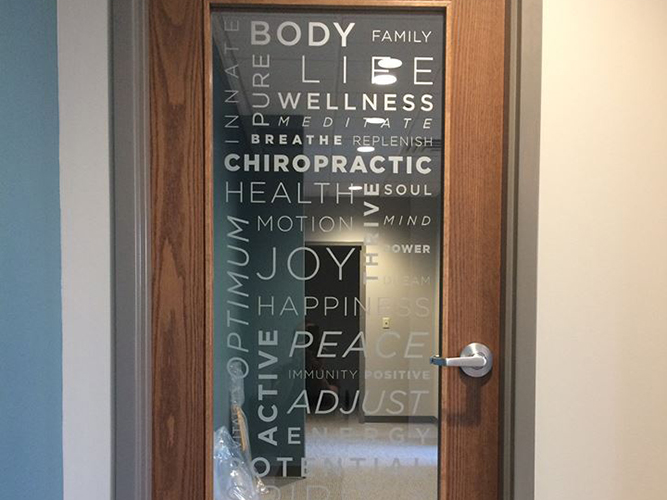 Chiropractor Vinyl - Frosted vinyl - Impression Signs and Graphics - Oakdale, MN