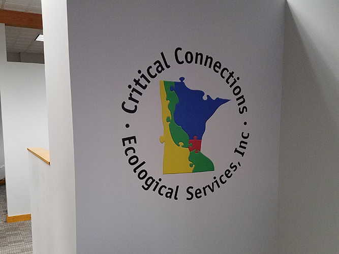 Critical Connections Ecological- Interior vinyl lettering logo wall sign - Impression Signs and Graphics - Oakdale, MN