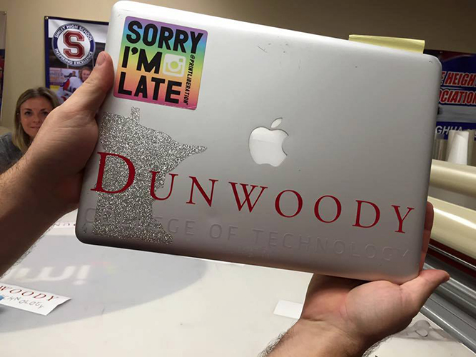 Dunwoody laptop sticker- Vinyl decal - Impression Signs and Graphics - Oakdale, MN