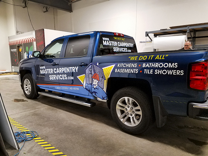 Master Carpentry - Vehicle Graphic vinyl lettering - Impression Signs and Graphics - Oakdale, MN